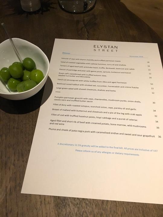 Elystan Street in Chelsea, London (review by ElizabethOnFood)